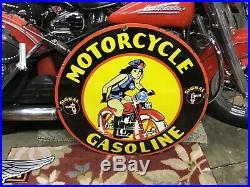 VINTAGE PORCELAIN SIGNAL MOTORCYCLE GASOLINE Harley-Davidson Indian Henderson