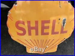 VINTAGE SHELL GASOLINE PORCELAIN GAS SERVICE STATION SIGN Heavy One sided