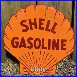 VINTAGE SHELL GASOLINE PORCELAIN METAL SIGN USA OIL Gas Service Station LARGE