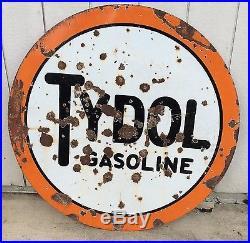 VINTAGE TYDOL PORCELAIN GASOLINE SIGN 42in DOUBLE SIDED