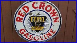 VTG 1930s RED CROWN ETHYL GASOLINE DOUBLE SIDED PORCELAIN LOLLIPOP CURB SIGN 30