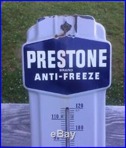 VTG. 1950s PRESTONE ANTI-FREEZE PORCELAIN THERMOMETER. OIL GAS STATION
