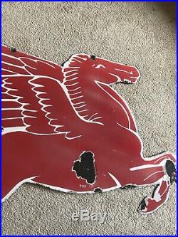 VTG 1953 Mobil Pegasus Gas Figural Sign Right Porcelain Original Flying Horse