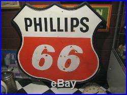 VTG 1959 4 FT. DOUBLE PORCELAIN PHILLIPS 66 OIL GAS SIGN RARE With BLACK FRAME