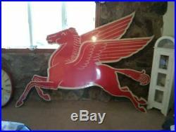 VTG Mobil Pegasus Gas Figural Sign Left Porcelain Original Flying Horse IR 1955