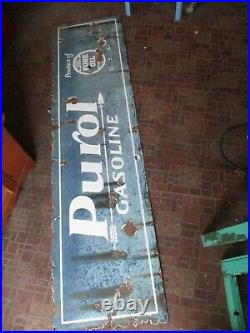 Vintage 1920's era PUROL PORCELAIN Auto TIRE SHOP Gas Pure Oil BURDICK SIGN