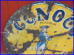 Vintage 1920s Conoco Minuteman Gasoline Double Sided Porcelain Advertising Sign