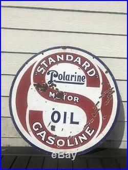 Vintage 1920s Standard Polarine gas oil porcelain sign 30 Double Sided