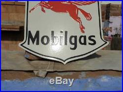 Vintage 1930's Old Antique Very Rare Mobil Oil & Gas Porcelain Enamel Sign Board