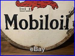 Vintage 1930s Gargoyle Mobil Double Sided Porcelain Lollipop Sign Gas Oil Curb