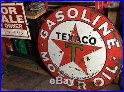 Vintage 1930s Texaco Gasoline Motor Oil 2 Sided 42 Porcelain Metal Sign
