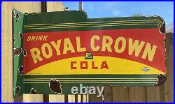 Vintage 1936 Nehi Royal Crown Porcelain RC Cola Soda Drink Gas Oil Flange Sign