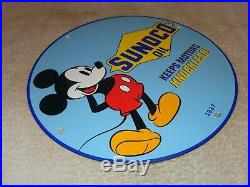 Vintage 1937 Sunoco Oil And Mickey Mouse 11 3/4 Porcelain Metal Gasoline Sign