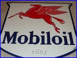 Vintage 1940 Mobil Mobiloil Pegasus 11 3/4 Porcelain Metal Gasoline & Oil Sign