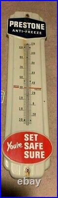Vintage 1940's Prestone Anti Freeze 36 Gas Oil Porcelain Metal Thermometer