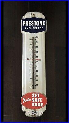 Vintage 1940's Prestone Anti Freeze Gas Oil 36 Porcelain Metal Thermometer Sign