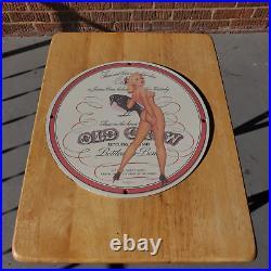 Vintage 1946 Old Crow Kentucky Straight Bourbon Porcelain Gas & Oil Metal Sign