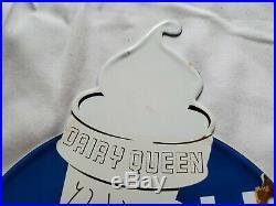 Vintage 1957 Dairy Queen Ice Cream Porcelain Enamel Fast Food Sign Die Cut