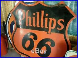 Vintage 1958 Phillips 66 Porcelain 6ft Sign Can Ship Has To Freight Or Pick Up