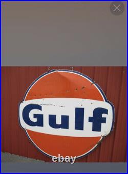 Vintage 1965 Large 6 Foot GULF Porcelain Sign GAS STATION OIL COLA