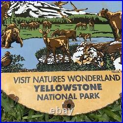 Vintage 1967 Chevrolet Yellowstone National Park Porcelain Metal Gas Oil Sign