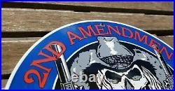 Vintage 2nd Amendment Porcelain Harley Skull Cowboy America First Gun Gas Sign