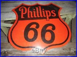 Vintage 30 2 DSP PORCELAIN PHILLIPS 66 ORANGE BLACK GAS OIL ADVERTISING SIGN