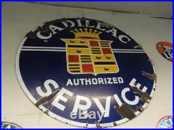 Vintage 42 By 42 Inch Cadillac Two Sided Dealer Sign Old Porcelain Sign