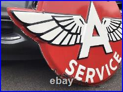 Vintage 55x42 FLYING A SERVICE Porcelain Sign Gas Oil Rare Size (will ship)