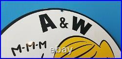 Vintage A&w Porcelain Root Beer Beverage Soda Pop Dennis The Menace Diner Sign