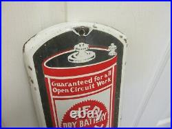 Vintage Advertising Red Seal Batteries Porcelain Thermometer Garage Store M-350