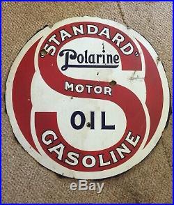 Vintage Americana 1920s Standard polarine gas oil porcelain sign. Double Sided