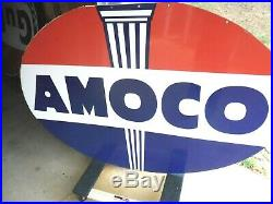 Vintage Amoco 6ft Porcelain Sign Double Sided 1958 Sps 6ft X 4ft Hard 2 Find