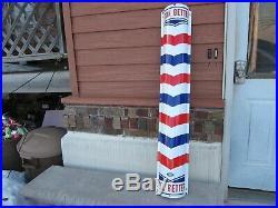 Vintage Antique Porcelain Barber Shop Pole Sign Gas Oil William Marvy 1940's