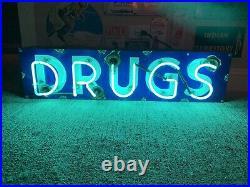 Vintage Authentic Antique Porcelain Neon Lighted Drugs Sign Neon Man Cave