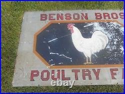 Vintage BENSON BROS POULTRY CHICKEN FARM Painted PORCELAIN POLARINE OIL SIGN