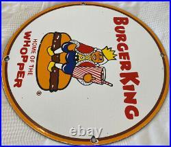 Vintage Burger King Porcelain Sign Fast Food Gas Station Pepsi Dew Mcdonalds