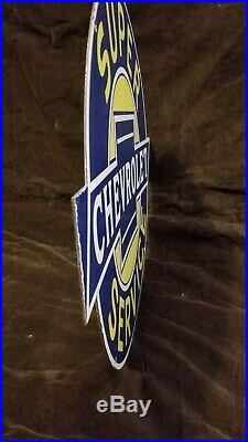 Vintage Chevrolet Porcelain Bowtie Auto Gas Trucks Service Station Pump Sign