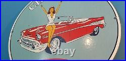 Vintage Chevrolet Porcelain Gas Service Station Dealership Pin Up Girl Pump Sign