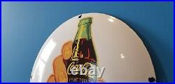 Vintage Coca Cola Porcelain Glass Bottles Soda Convex Dome Button Service Sign
