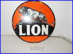 Vintage Collectible 12 Metal PorcelaIn LION GASOLINE Sign
