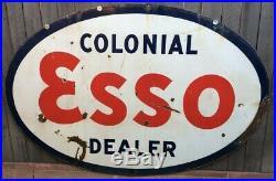 Vintage Colonial Esso (exxon-mobil) Porcelain Gas Advertising Sign