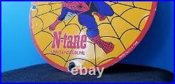 Vintage Conoco Porcelain Spider Man Gasoline Superhero Comic Ntane Oil Rack Sign