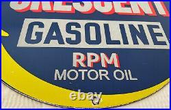 Vintage Crescent Gasoline Porcelain Sign Moon Gas Station Pump Plate Motor Oil