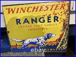 Vintage Dated 1956 Winchester Ranger Staynless Porcelain Gun Sign Remington Colt
