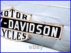 Vintage Double Sided Harley Davidson Motorcycles Porcelain Authorized Dealer