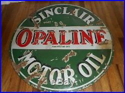 Vintage Early RARE Sinclair Opaline 24 Round Porcelain Motor Oil Lollipop SIGN