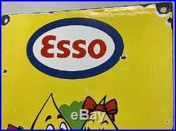 Vintage Esso Porcelain Sign Steel Gas Oil Garage Pump Plate Motor Oil Scooter