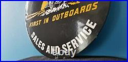 Vintage Evinrude Outboards Porcelain Fishing Boat Gasoline Motors Sales Sign