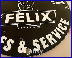 Vintage Felix The Cat Chevrolet Porcelain Vintage Gas Auto Motor Trucks Service